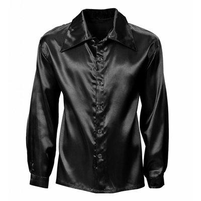 Zwart Satijnen 70'S Disco Shirt