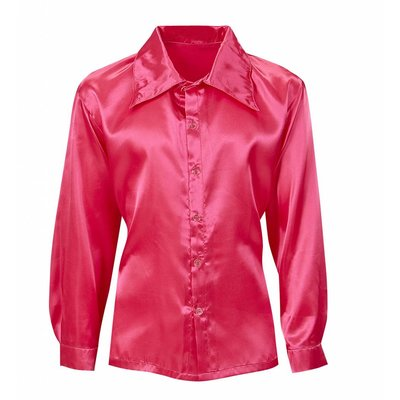 Roze Satijnen 70'S Disco Shirt