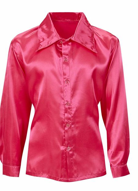 Rose satijnen 70's disco shirt