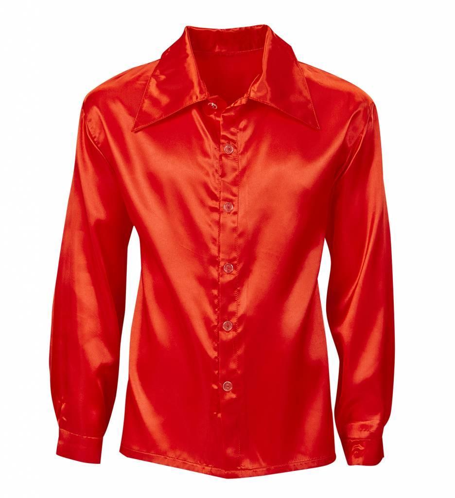 Rood Satijnen 70'S Disco Shirt