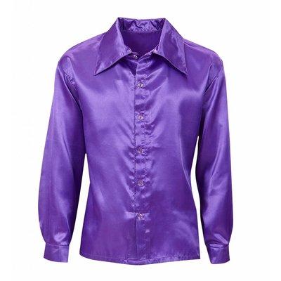 Paars Satijnen 70'S Disco Shirt