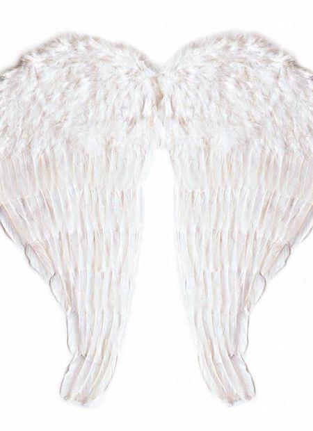 Veren vleugel engel, 64x67cm in wit