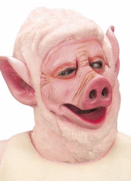 Masker varken met kap van plushe