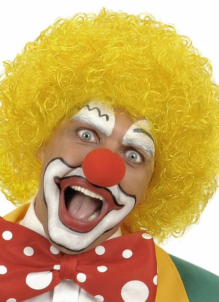 Pruik, clown geel