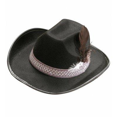 Cowboyhoed Zwart Met Veren Kind