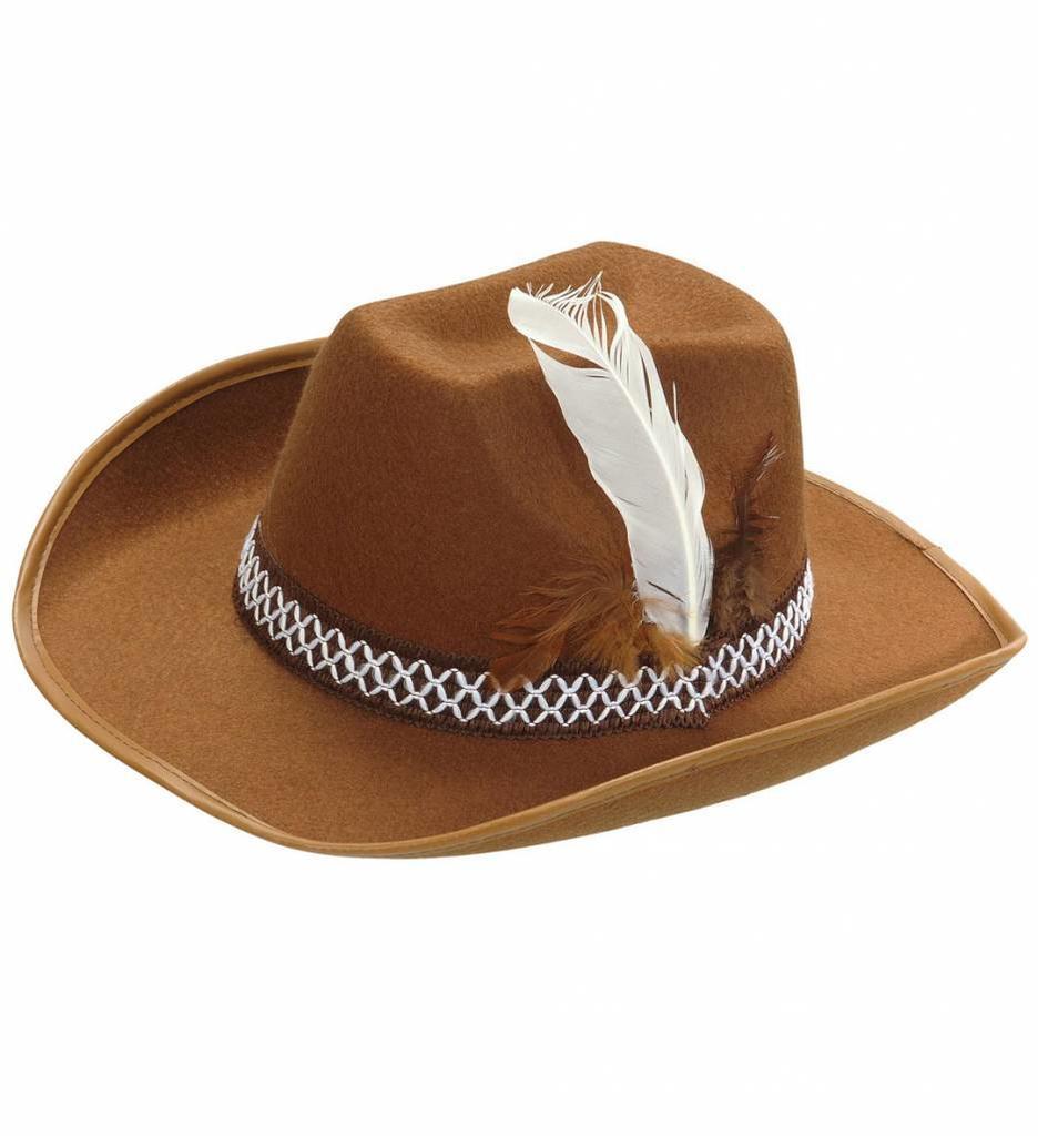 Cowboyhoed Bruin Met Veren Kind