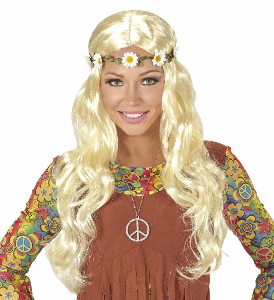 Pruik Hippie/ Middeleeuwen Blond Met Bloemen Hoofdband