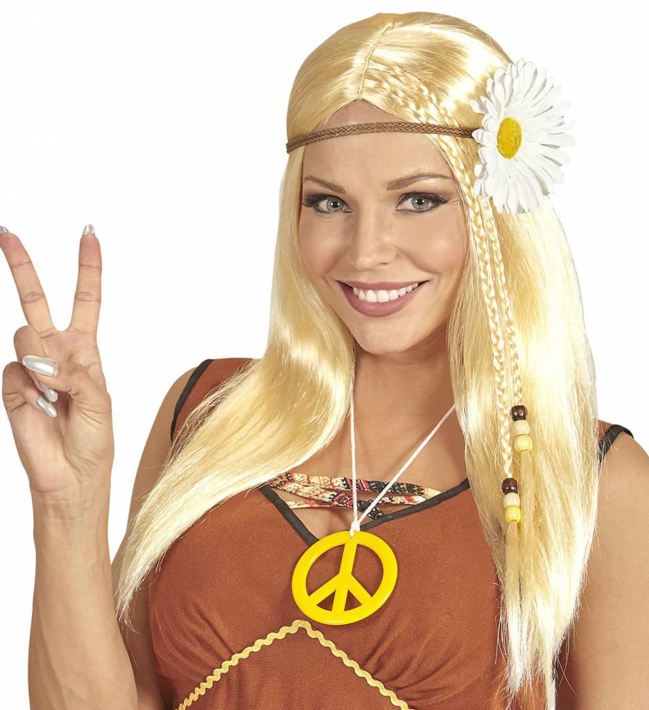 Pruik Hippie Met Bloemenkrans Blond
