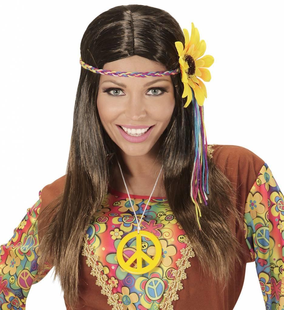 Pruik Hippie Bruin Met Meerkleuren Bloem Hoofdband