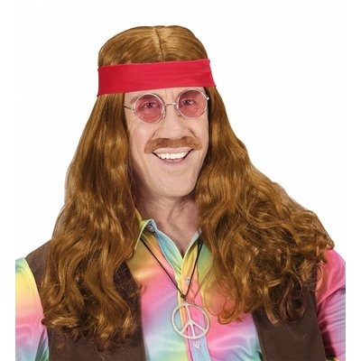 Pruik Hippie Met Hoofdband En Snor