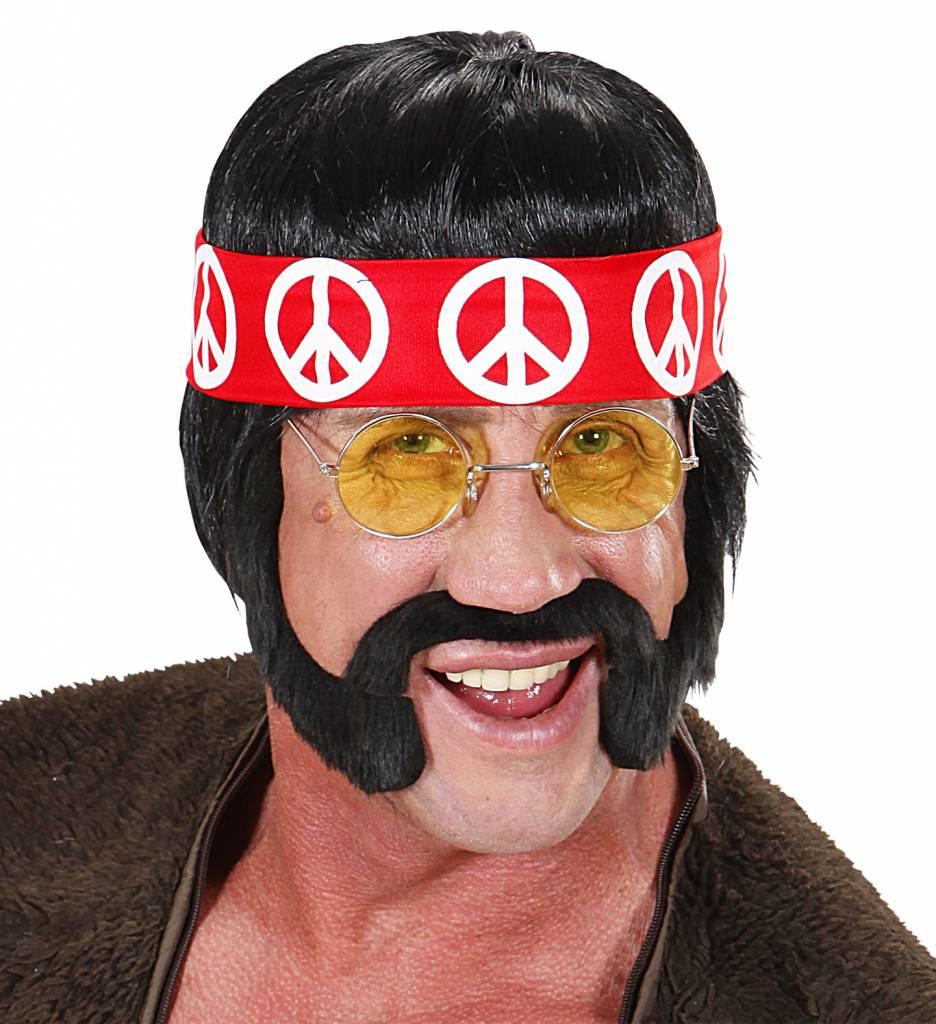 Pruik Hippie Zwart Met Snor Bakkebaard En Bril