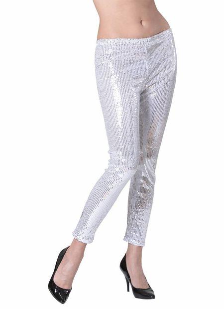 Pailletten legging zilver