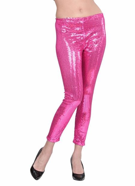 Pailletten legging rose