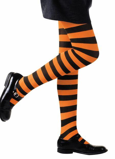 Kinderpanty gestreept, oranje/zwart