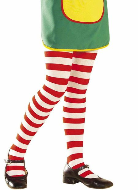 Kinderpanty gestreept, wit/rood