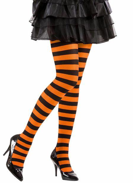 Panty gestreept, oranje/zwart