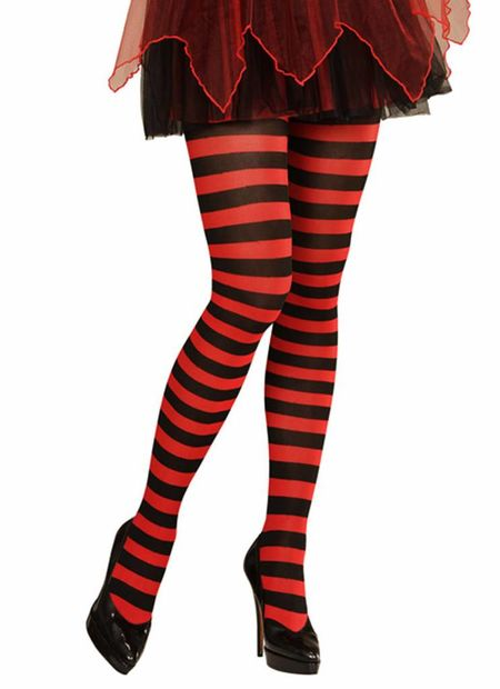 Panty gestreept, rood/zwart