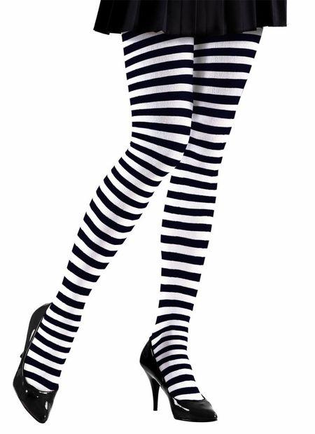 Panty zwart/wit gestreept