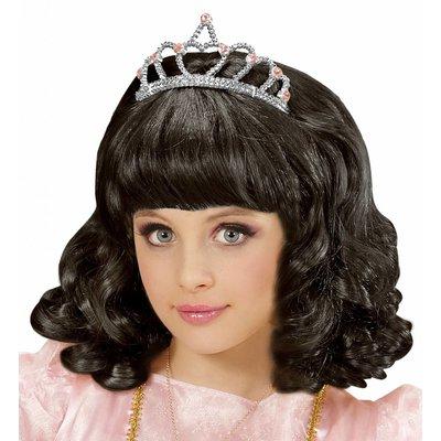Pruik Prinses Zwart Met Kroon Kind