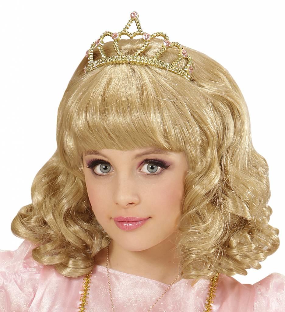 Pruik Prinses Blond Met Kroon Kind