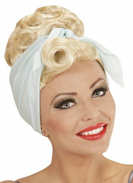 Pruik, rock pin up girl blond met hoofddoek