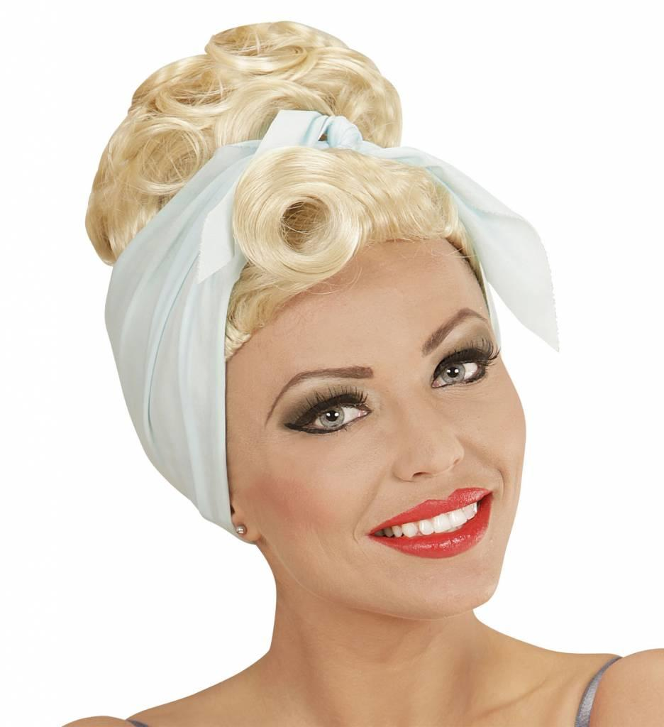 Pruik Rock Pin Up Girl Blond Met Hoofddoek