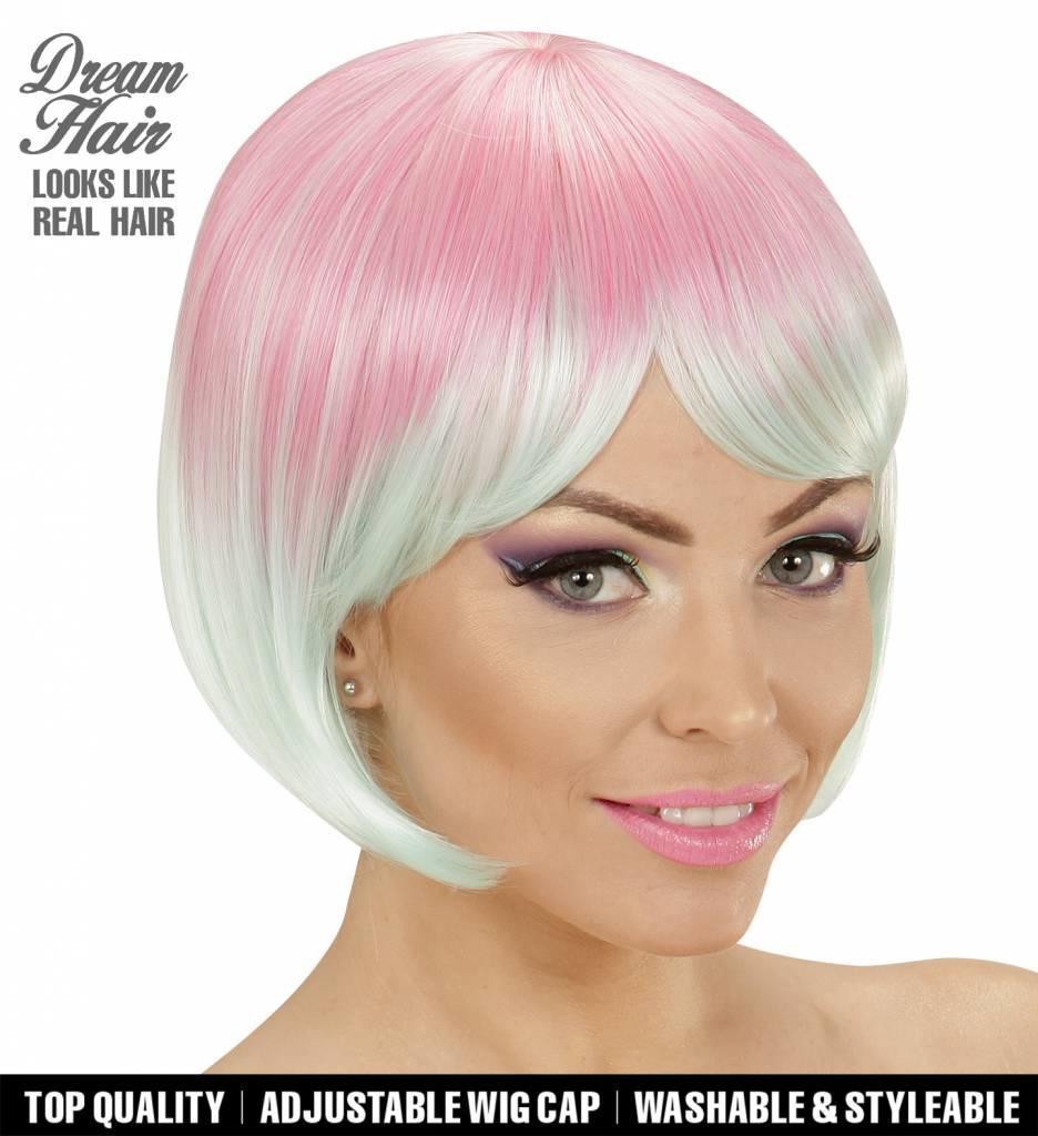 Pruik Melange Fashion Roze/Turquoise