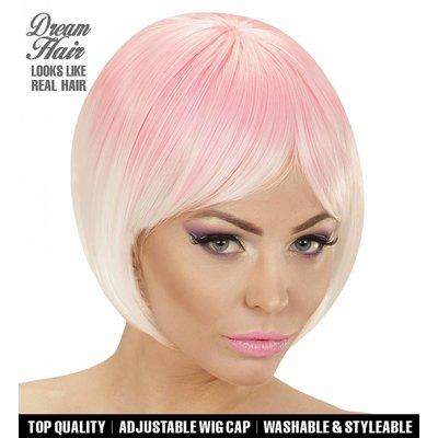 Pruik Melange Fashion Roze/Wit