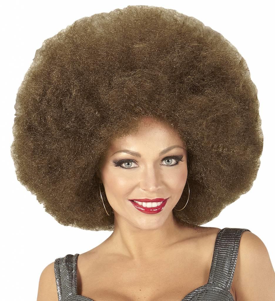 Pruik Afro Extra Groot Bruin