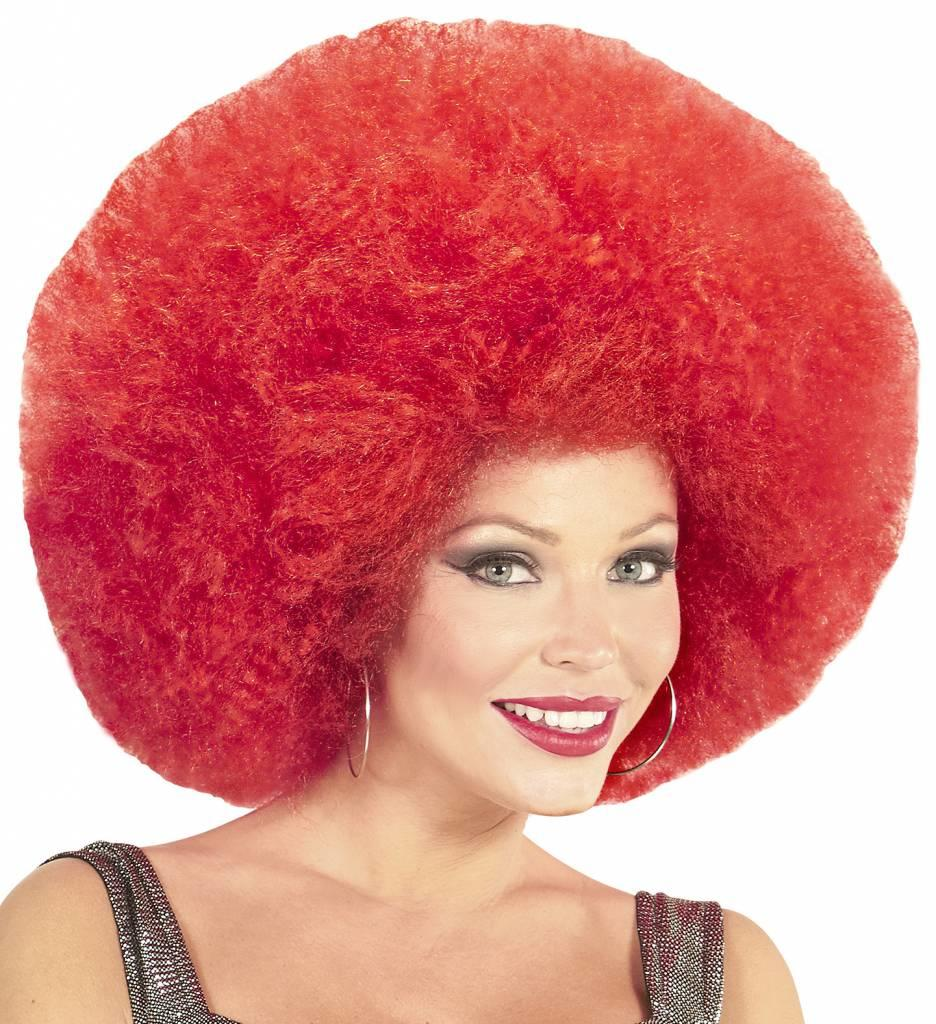 Pruik Afro Extra Groot Rood