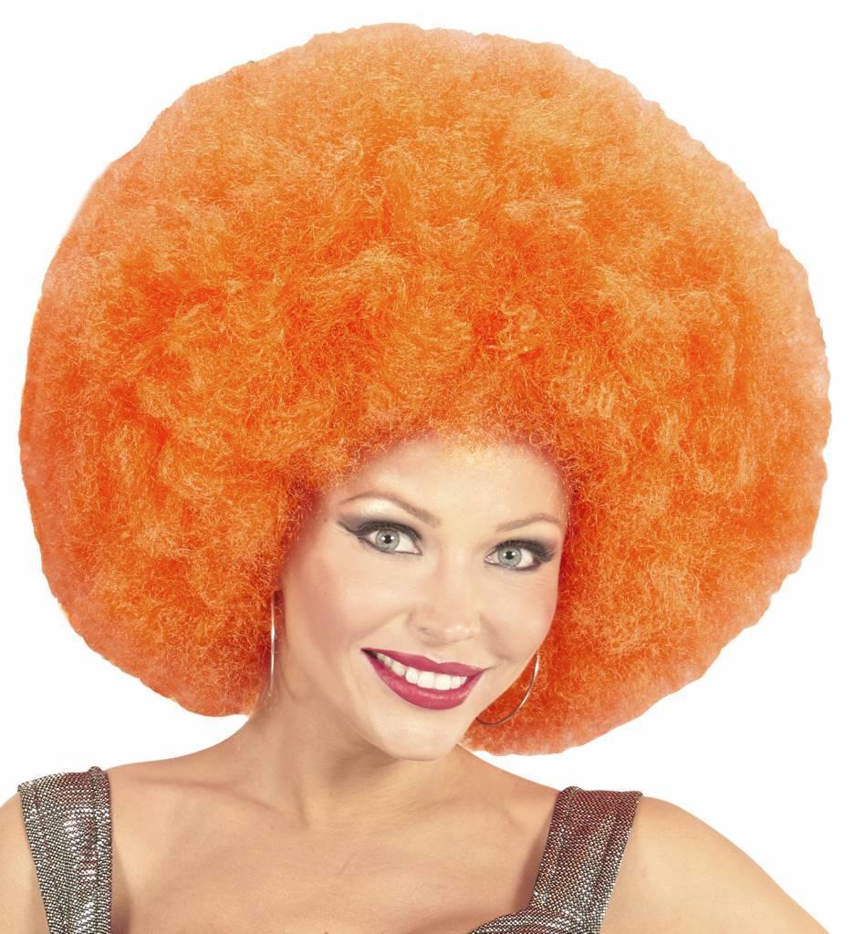 Pruik Afro Extra Groot Oranje