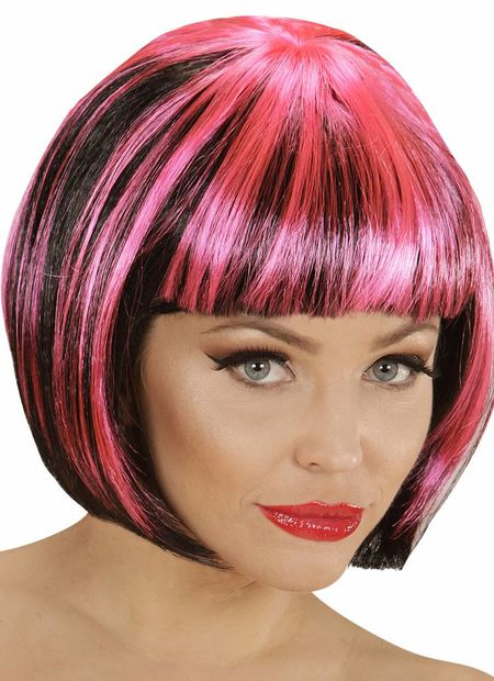 Pruik, streaks zwart/pink
