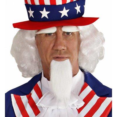 Pruik Uncle Sam Met Wenkbrouwen En Sik