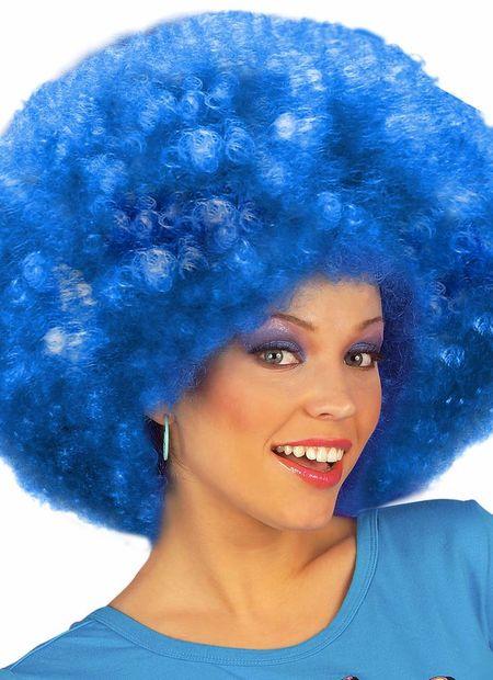 Pruik, jimmy extra krul, blauw