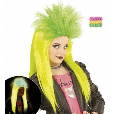 Pruik Kind Punk Geel/Groen