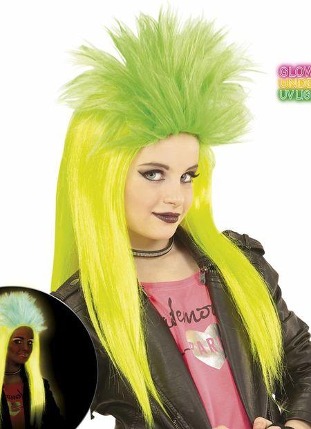 Pruik, kind punk geel/groen