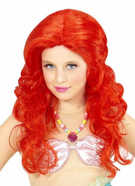 Pruik, zeemeermin rood kind