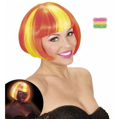 Pruik Valentina Neon Geel/Oranje