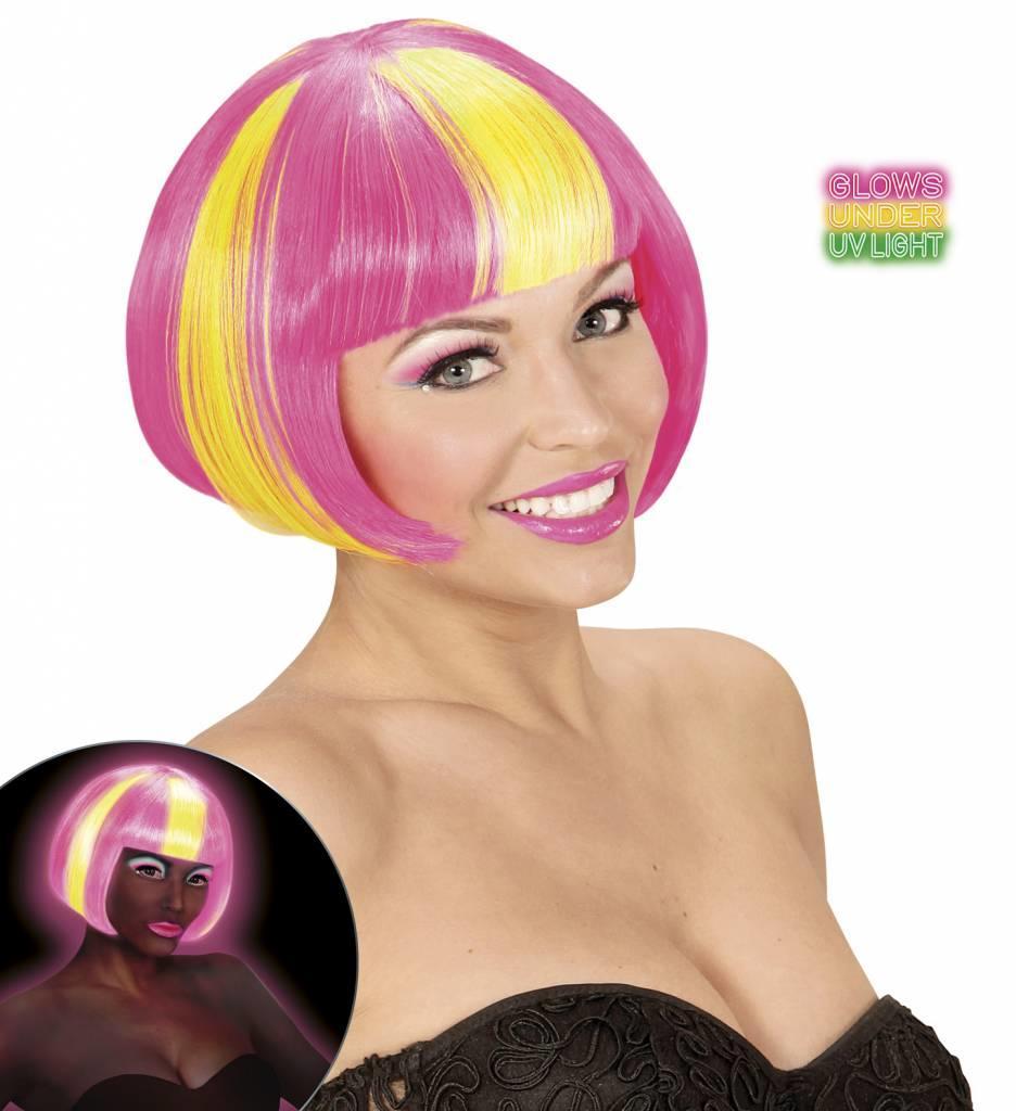 Pruik Valentina Neon Geel/Roze