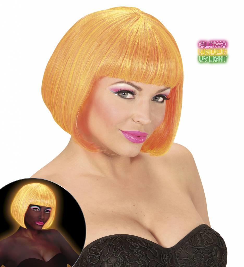 Pruik Valentina Neon Oranje/Geel Mix
