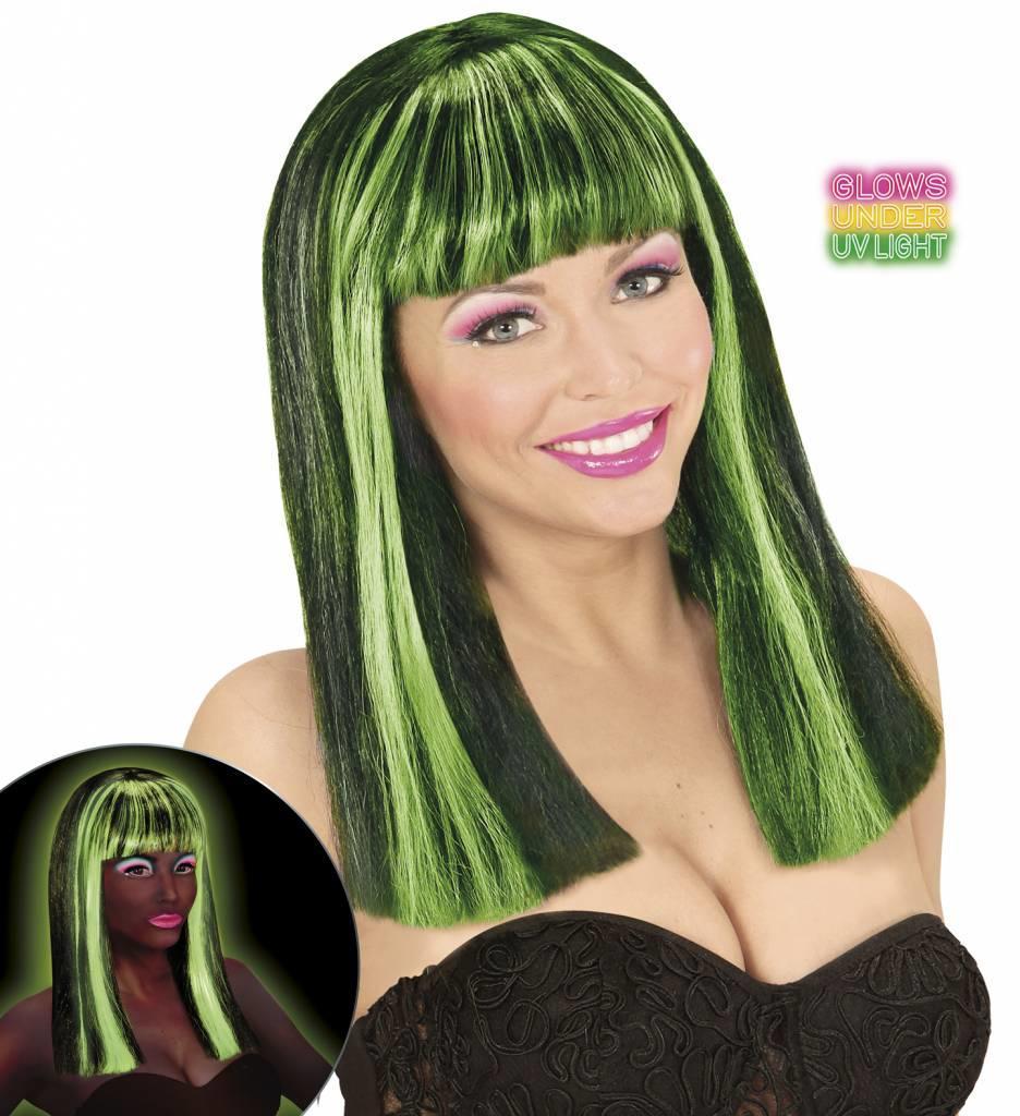 Pruik Patsy Neon Groen Strepen