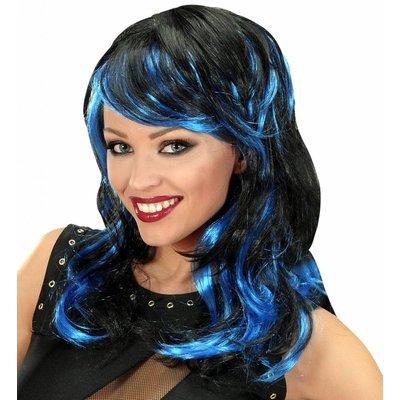 Pruik Lang Golvend Haar Zwart/Blauw