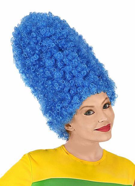 Pruik, cartoon blauw