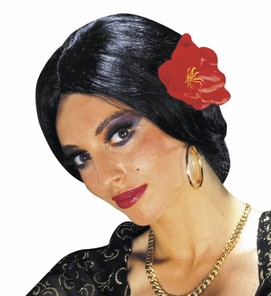 Pruik Carmen Met Bloem (In Plastic Zak)