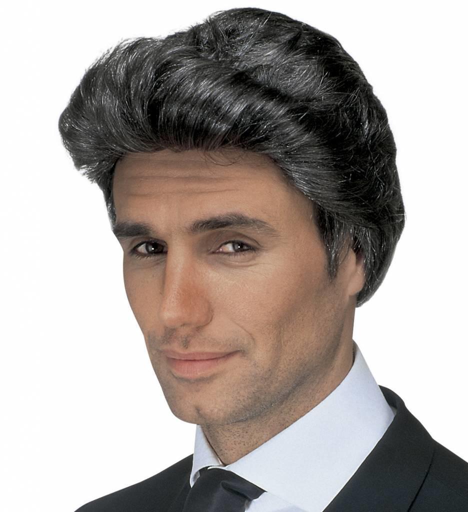 Pruik Luciano Grijs (In Plastic Zak)