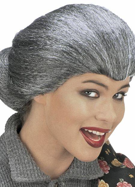 Pruik, tante maria (in plastic zak)