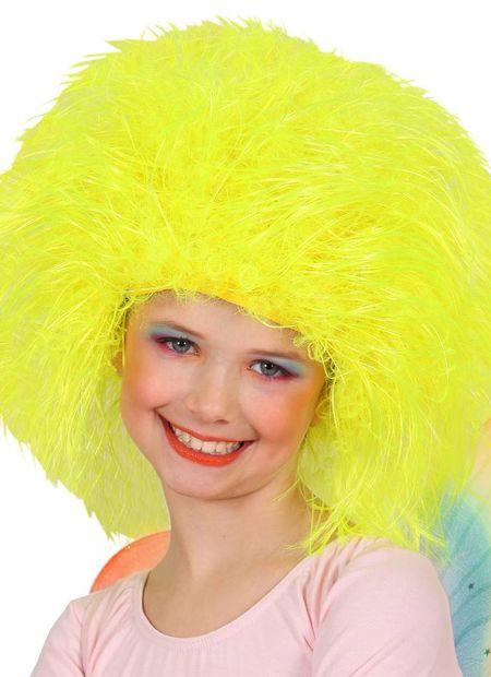 Pruik, fee kind neon, geel