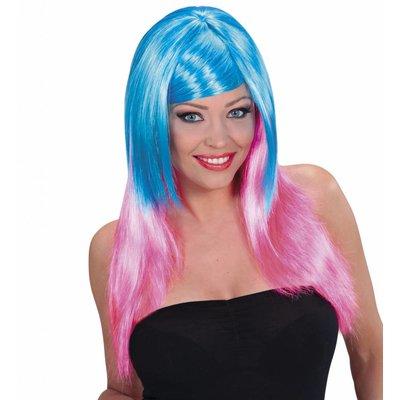Pruik Meerkleurig Blauw/Roze