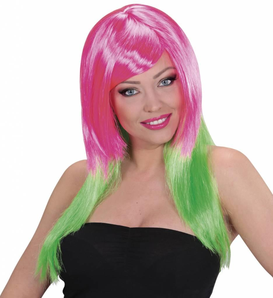 Pruik Meerkleurig Roze/Groen