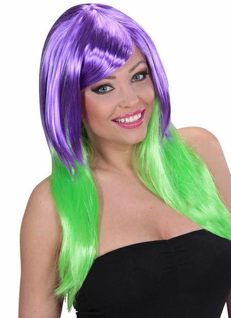 Pruik, meerkleurig paars/groen